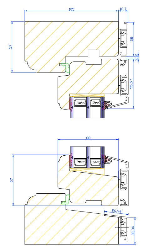 pris sidohängt 3 glas fönster med aluminiumbeklädnad
