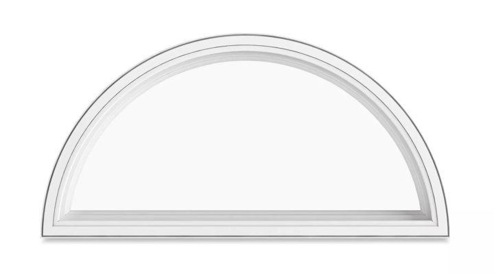 Halvrunt fönster träfönster med aluminium beklädnad 3 glas fast. Fasta fönster trä/aluminium trä/alu